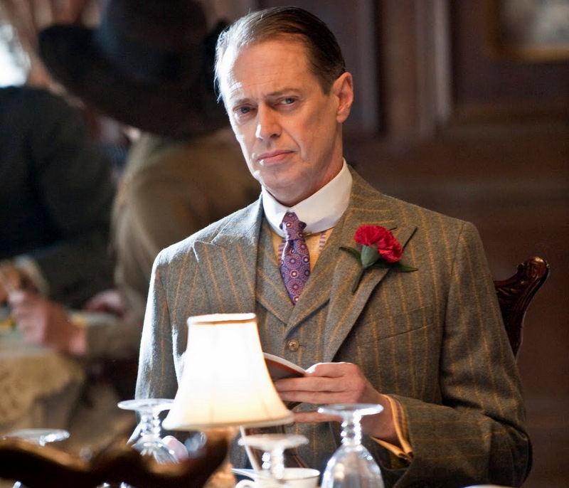 nucky thompson with a pinstripe suit
